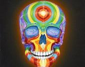 Glowing Rainbow Skull Painting