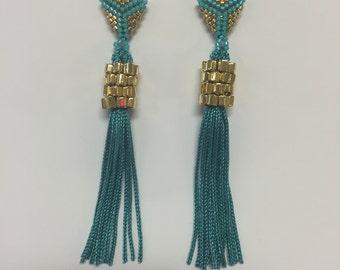 Turquoise Green studded tassel earring