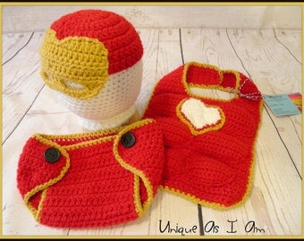 Crochet Baby Ironman Inspired Outfit/Photo Prop