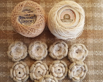 Vintage crochet thread, 8 crocheted flowers