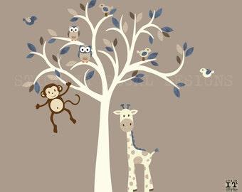 Monkey Wall Decal, Jungle Animal Tree Decal, Nursery Wall Decal, Tree Wall Decal, Giraffe Decal, Monkey Wall Decal, Cocoa & Denim Design
