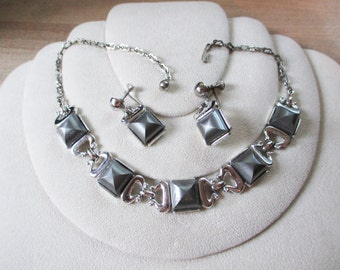 Vintage, Retro 1950's  Necklace and Earring set - possibly Coro - unique design...estate find!