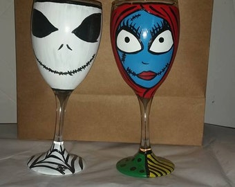 Jack and Sally Wine Glass Set