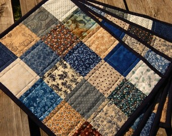 Shades of Blue Patchwork Quilted Placemats - set of 4