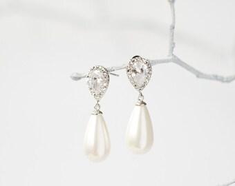 Silver crystal pearl drop earrings, bridal jewelry, wedding jewelry