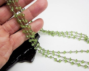 """Genuine Peridot Necklace & Sterling Silver 21"""" Long, Vintage, Faceted Gems, Adjustible Length, SF 1990s."""