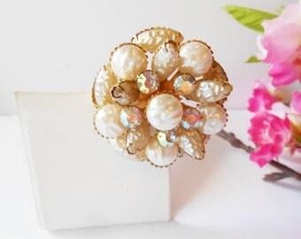 Pearl Brooch, Pearl and Crystal, Vintage Brooch, Costume Jewelry, Pearl Crystal Pin, Vintage Pearl Pin