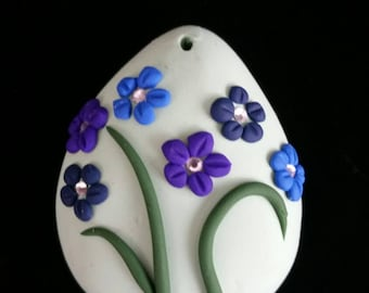 Handcrafted Polymer Clay Floral Pendant (Green with Purple and Blue Accents)