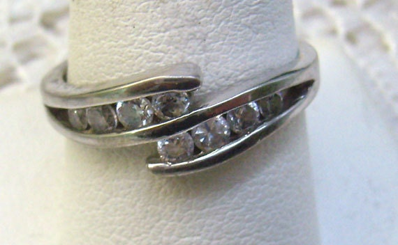 vintage sterling bypass ring channel set cz by