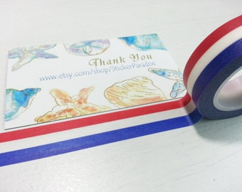 Red White Blue Washi / Masking Tape - 10M