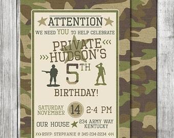 Boy Camouflage Invitation - Army Birthday Invitation - Camo Birthday - Army Party - Double Sided Card - 5x7 JPG (Front & Back Design)
