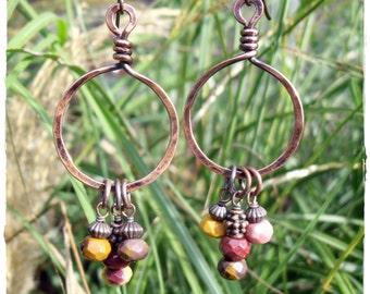 Antiqued Copper Mookaite Gemstone Hoop Drop Earrings, Hypoallergenic