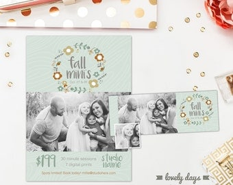 Fall Mini Session Template and Matching Facebook Timeline INSTANT DOWNLOAD