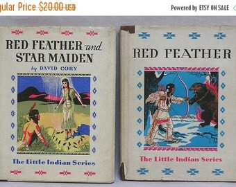 ON SALE Two Little Indian Series Books Red Feather and Star Maiden and Red Feather / Two Books by David Corey / Native American Illustration