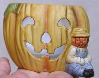 Vintage HALLOWEEN Bisque Planter Pumpkin Man Sits by Leering JOL Made in Taiwan 1980s