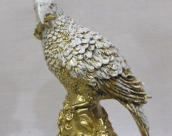 Stunning Hollywood Regency Figural Parrot Candle Holder Gold and White Ceramic Composition