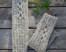 Wool leg warmers women. Natural wool sheep grey hand knitted. Fall winter accessories