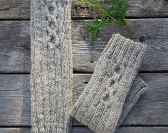 Wool leg warmers women. Natural wool sheep grey hand knitted. Fall winter accessories