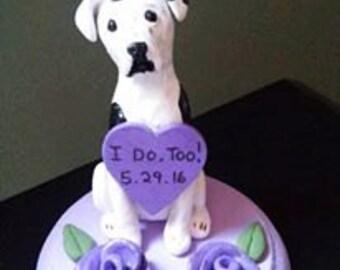 Great Dane Pitbull / Boxer/ with Burlap accents Dog Wedding Cake Topper/ single dog/custom colors/custom design. ANY BREED