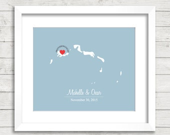 8x10 Turks and Caicos Wedding Map - Providenciales, Turks and Caicos - Love Map - Destination/Beach Wedding - Engagement & Anniversary Gift