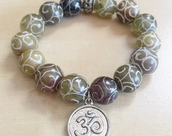 Chinese Xiu Jade Meditation Bracelet - Carved Gemstone Beads, Brown Stones, Silver Ohm Charm, Om, Zen, Swirls, Stretchy Stacking Bracelets