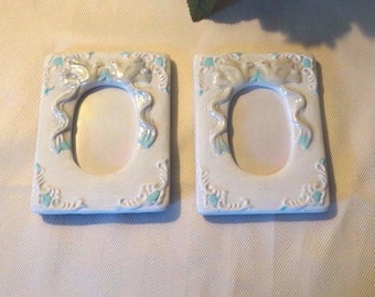Small White Ceramic picture frames, wedding doves, baby pictures, desktop, Repainted, blue trim, no glass, 3 x 2 photo, 2 pictures