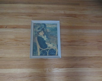 "BY THE SEASHORE Vintage Print In Cream Color Wood Frame (Original Painting Was By Auguste Renoir 1841-1919) Frame Measures 11"" x 14 1/2"""