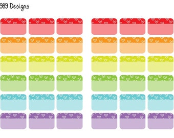 Printable Rainbow Heart Half Boxes || Instant Digital Download