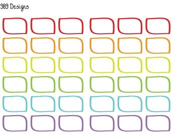 "Printable Rainbow ""Skewed"" Half Boxes 
