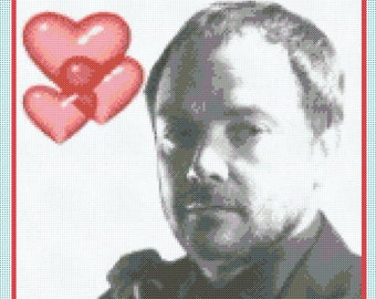 Love Crowley (Supernatural - Mark Sheppard) Portrait Counted Cross Stitch Chart