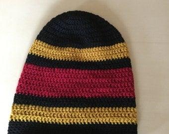 Crochet beanie - Australian Aboriginal flag color