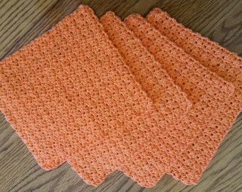 4 Hand Crocheted Cotton Dish Rags in Tangerine