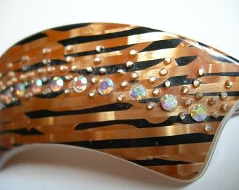 Vintage Glowing Bronze and Black Aurora A.B.Rhinestones Hair Slide,Barrette Retro