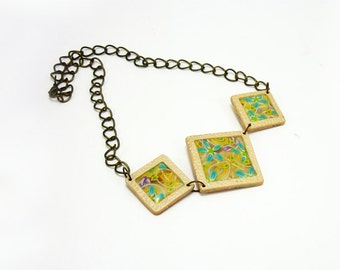 Square art necklace, Elegant necklace, Polymer clay necklace, Brass chain necklace, Handmade art jewelry, Colorful necklace, Gift for her