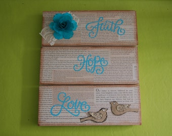Faith,Hope,Love Wood Sign with Lord's Prayer background,Religious Home Decor Sign, 3 separate boards,with Flower & Birds,Original(H272)
