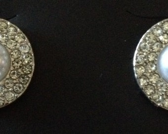 """PAIR Pearl and Rhinestone Round Gauges Plugs 00g - 10mm 7/16"""" - 11mm 1/2"""" - 12mm 9/16"""" - 14mm"""