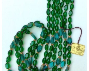 Vintage D' Arlan Made in Germany Multistrand beaded necklace new with tag, Emerald Green and Teal blue Beaded Necklace