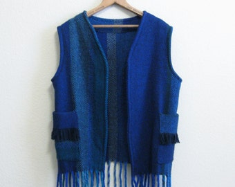 Blue Wool Fringe Vest Large