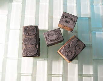 Bride and Groom Wedding Ring Stamps Printing Block Cuff Links Metal Letterpress 1960s Advertising Metal Stamp
