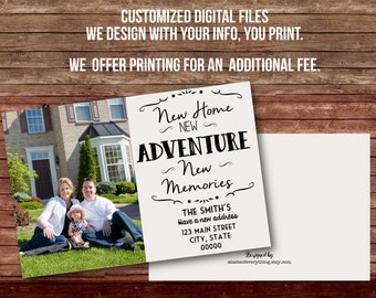 Moving announcement DIGITAL FILES DIY printing New home new adventure new memories photo card modern
