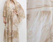 Angel sleeve dress vintage 70s BOHO beige HIPPIE angel sleeve alt WEDDING dress hippie wedding dress 1970s large dress