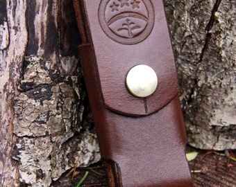 Hand-made Brown Leather Belt Case / Pouch / Sheath For DC4 Ceramic Stone Or Small Pen-knife or similar...