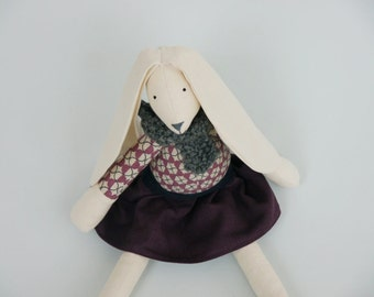 Jess Rabbit Tilda Bunny Girl Large Stuffed Animal Ragdoll  Linen Plum Skirt, Geometric Printed Body and Grey Woollen Scarf  British UK Maker