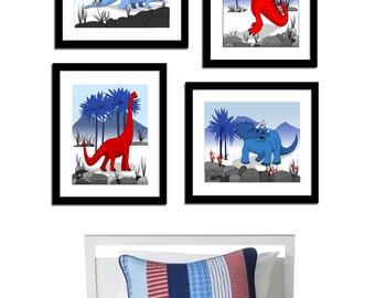 Set of 4 Dinosaur Wall Prints, Canvas Wall Decor, Kids Wall Art