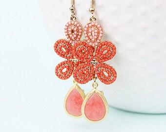 Coral Earrings Gold Framed Coral Earrings Coral Bridesmaids Beach Wedding Coral Bridesmaid Earrings