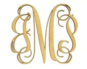 "Wooden Monogram - Unfinished, Cursive Wooden Letter - Perfect for Crafts, DIY, Weddings - Sizes 1"" to 42"""