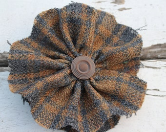 Vintage Plaid Fabric Flower-Brown and Gray-Large Flower Pin-Boho