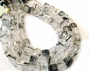 Black tourmalated quartz faceted cubes.  Approx. 6x6mm.  Select a quantity.