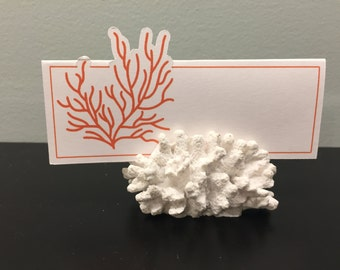 Orange Coral Place Cards