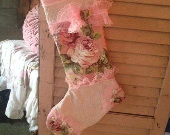 barkcloth holiday stocking